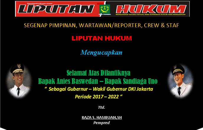 UCAPAN PELANTIKAN GUB WAGUB DKI 2017 - 2022