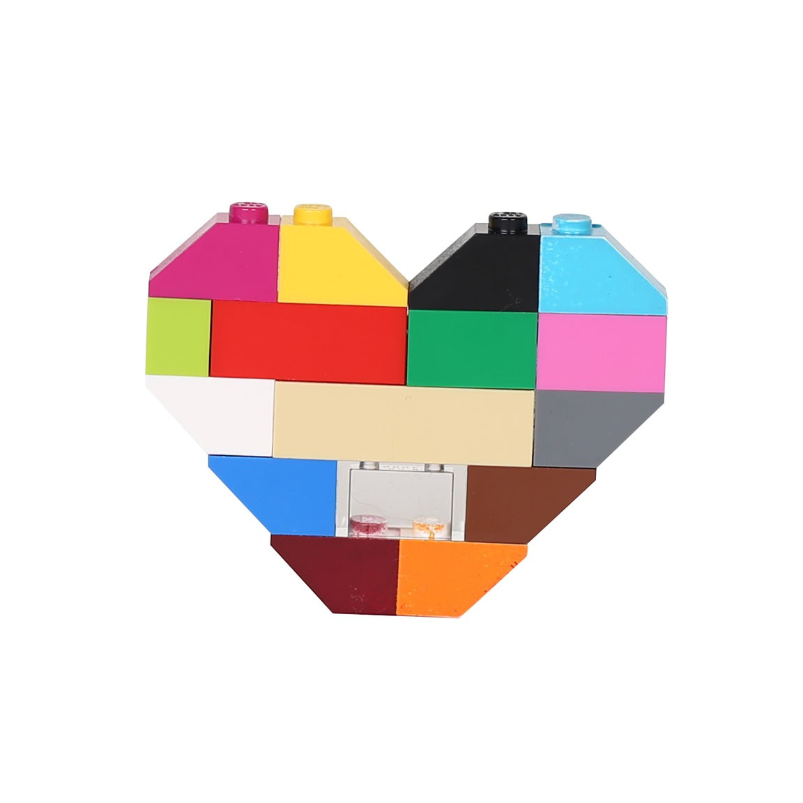 Unisex Hearts Of Bricks Brooch Multi Colored Liques Boutique