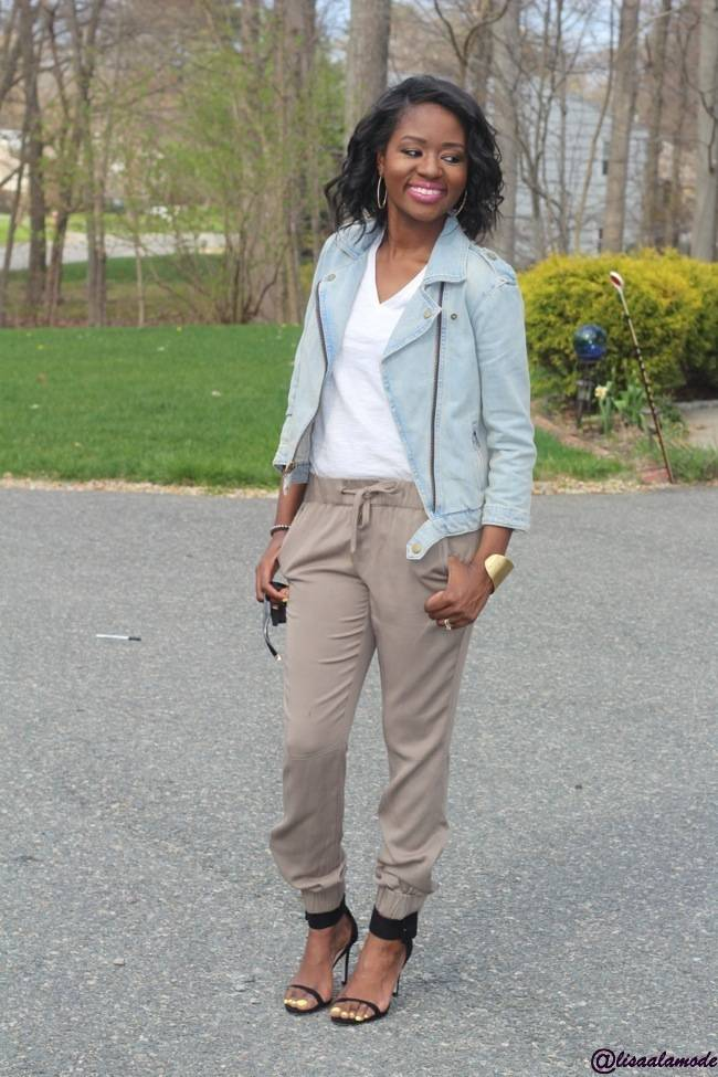 How To Style Jogger Pants Spring Fashion Link Up Lisa A La Mode