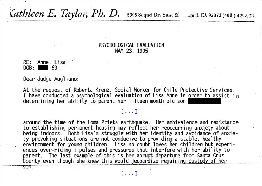 CPS 2nd psychological evaluation re my 1995 move to Sutter County