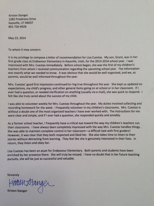 create a letter of recommendation
