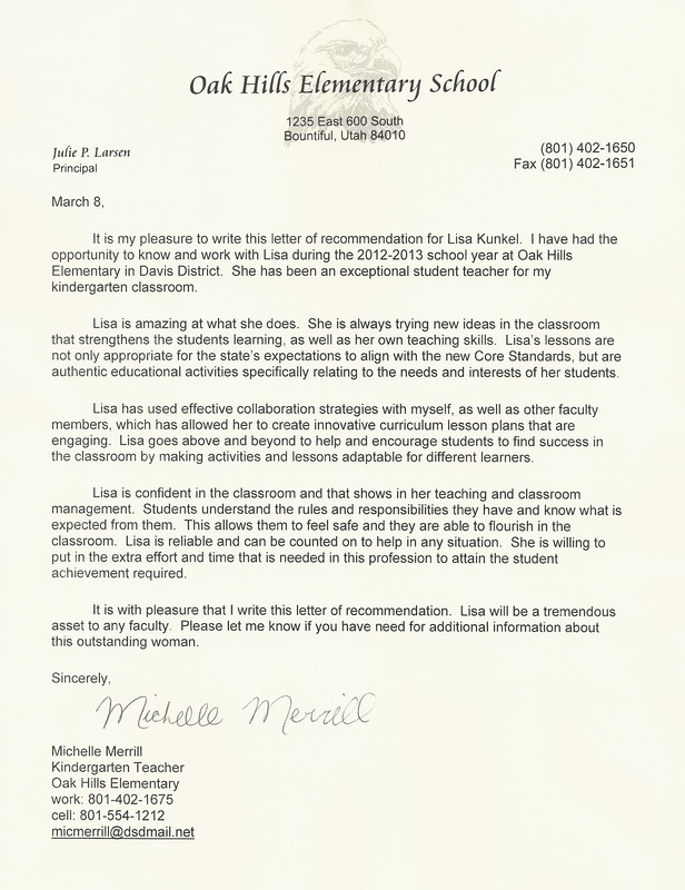 Recommendation Letter For Student In Education Education Manager
