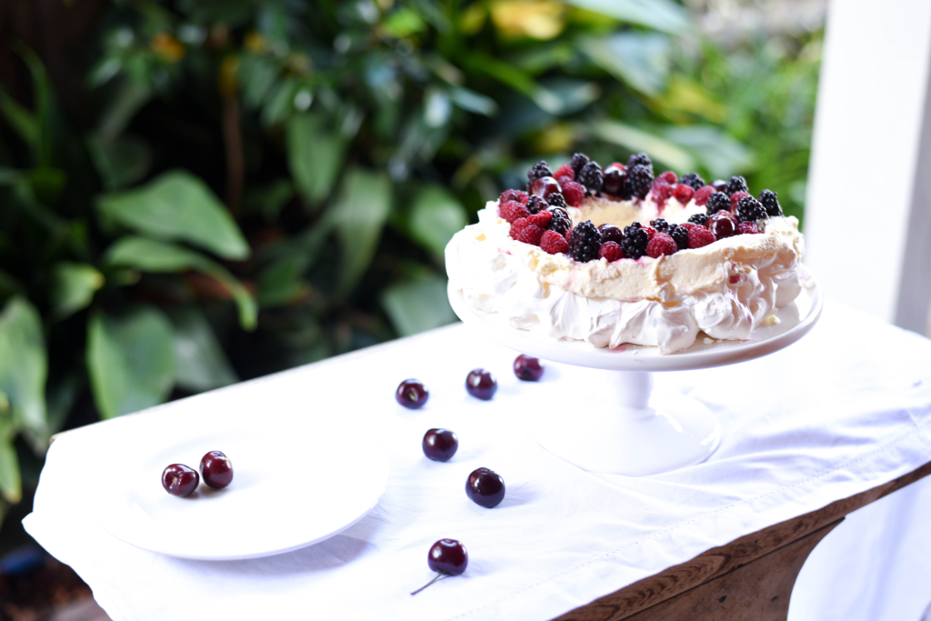 Christmas Wreath Pavlova with Summer Berries