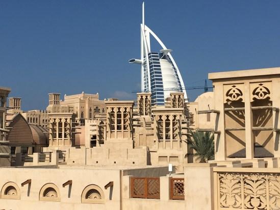 Burj al Arab profile behind Jumeirah Madinat