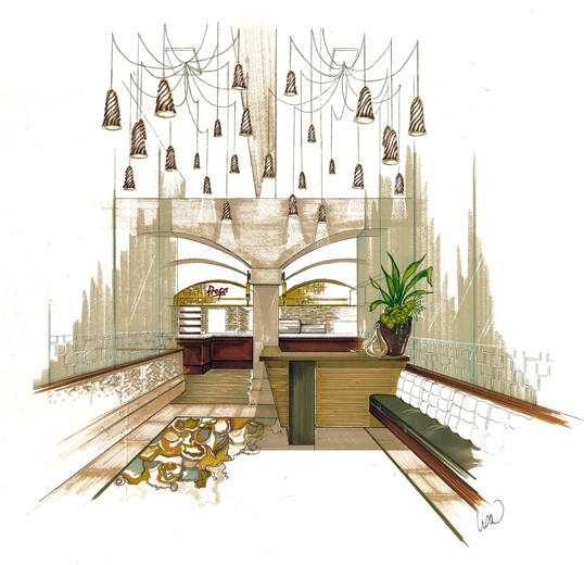 Fine dining lobby interior design concept sketch