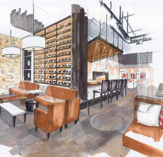 Restaurant interior design concept sketch