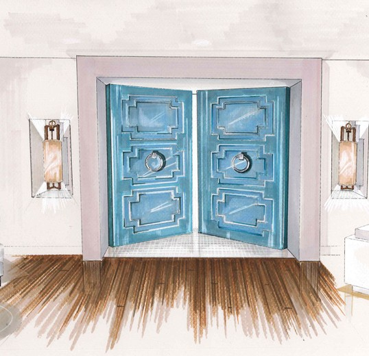 Interior design sketch for Hinkley Lighting entryway