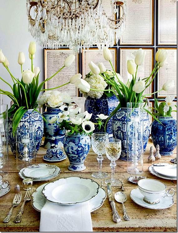 blue-white-ginger-jars-framed-prints-wall-decor-gilded-chandelier-dining-room-decorating-ideas-veranda