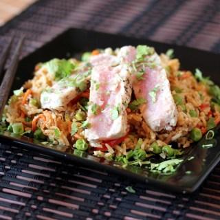 Seared Tuna Fried Rice with Sesame Soy vinaigrette