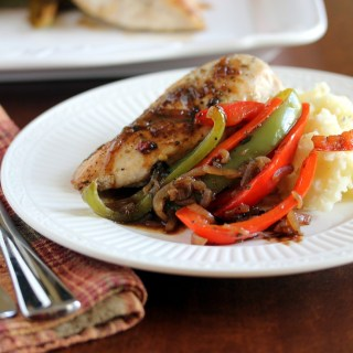Roast Chicken with Balsamic Bell Peppers and Mascarpone Mashed Potatoes