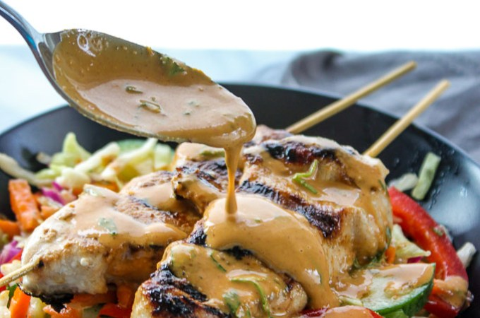 Lisa's Dinnertime Dish:  Thai Peanut Chicken Skewers with Asian Slaw Dressing