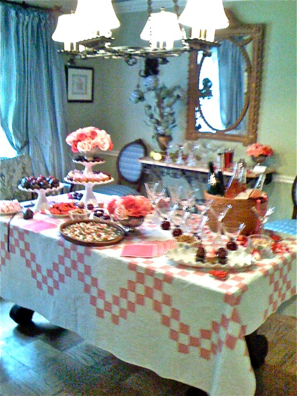 The table was set with an old quilt from Ebay and roses