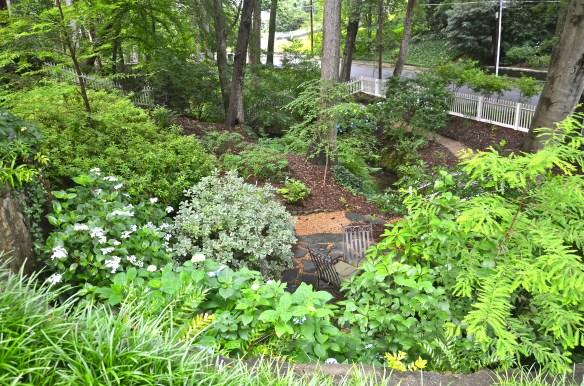 The Secret Garden patio near the creek