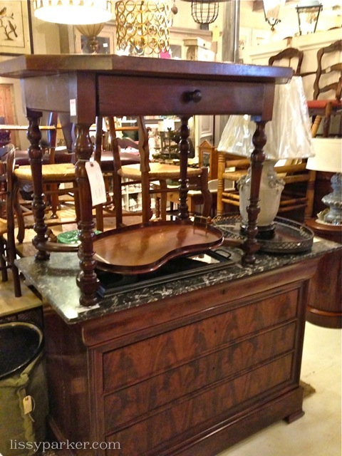 Louis Phillippe chest and small table and tray