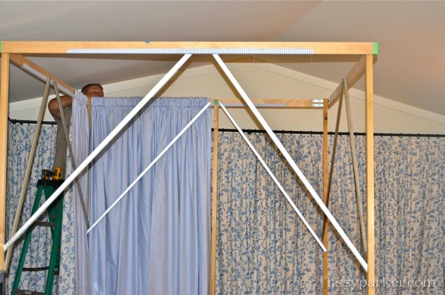 The frame to support the 'Hicks' style bed was built beside the bed
