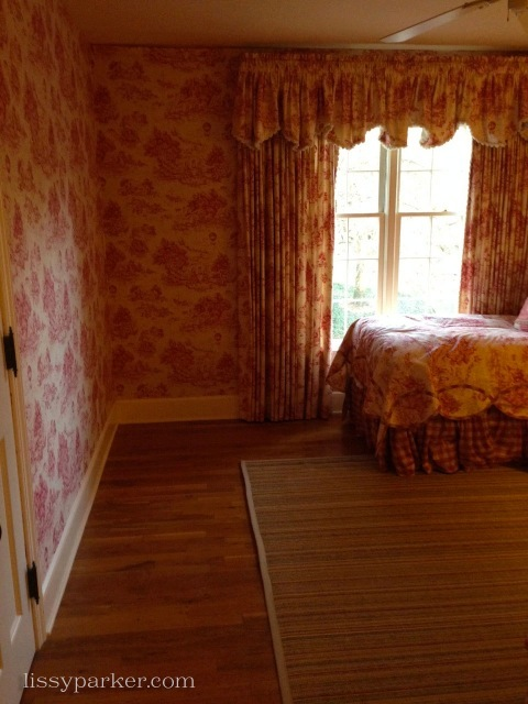 Guest Room has only beds and a table—still love this pink toile