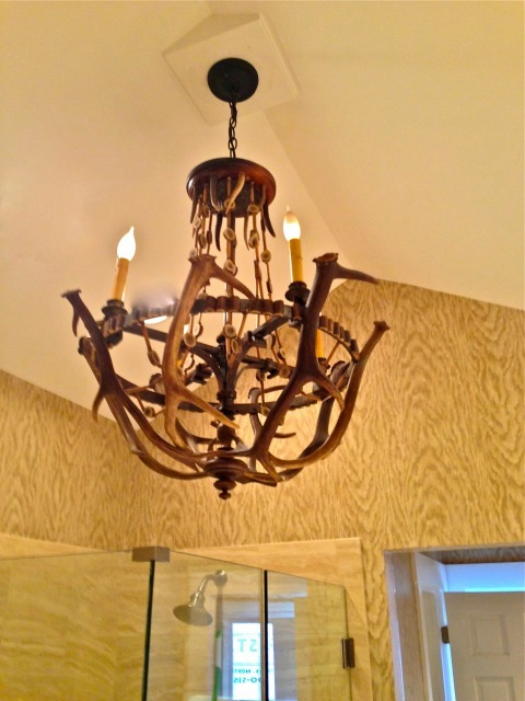 Another great chandelier is used in the shower area ... love a chandelier in the bath