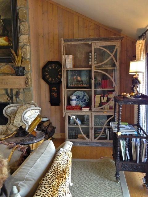 More collections in the cabinet ... notice the large magazine rack on the right and the cheetah through over the sofa back