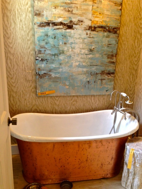 This Antique tub is surrounded by faux bois paper ... Charles's design