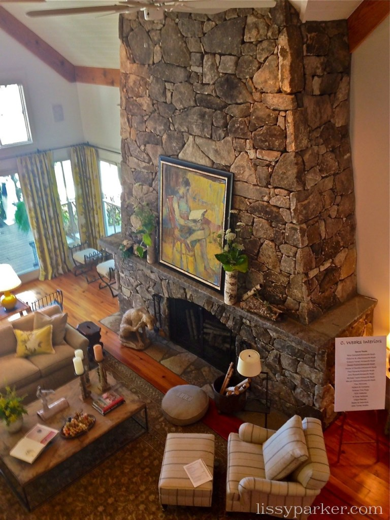 The owners small son was placed on the mantle of this huge stacked stone fireplace by his older bothers and told to walk around ... he did!