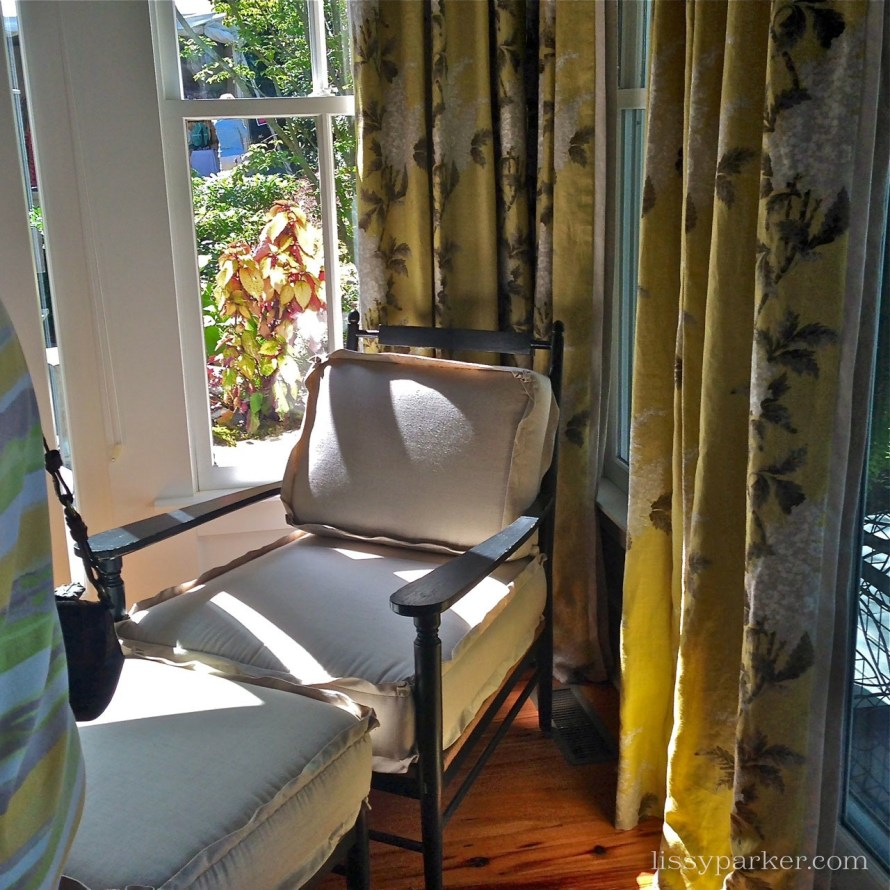 Love the yellow draperies Carole used in this sunny corner window