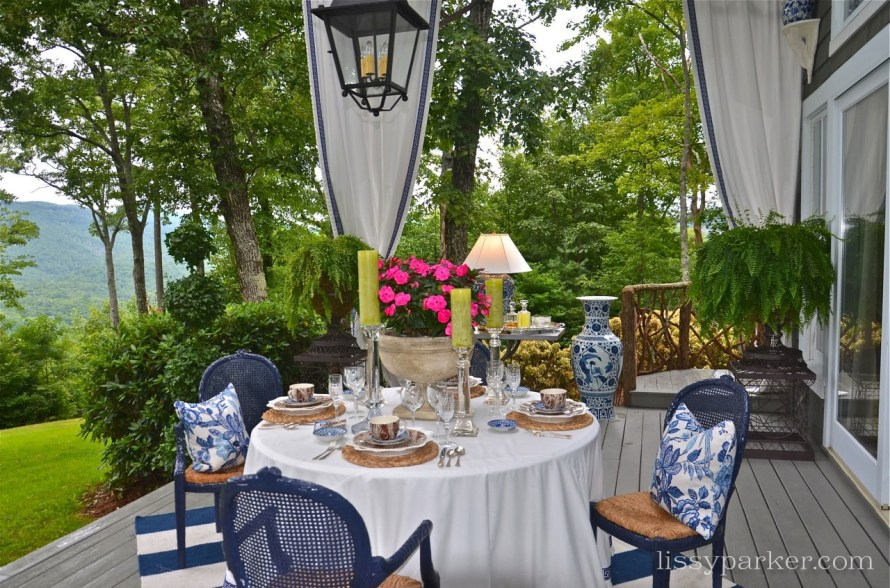 Lynn's porch design features an all blue and white color scheme