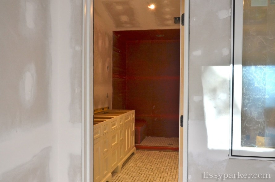 One door now leads to the bathroom—before we had two, one to each bathroom