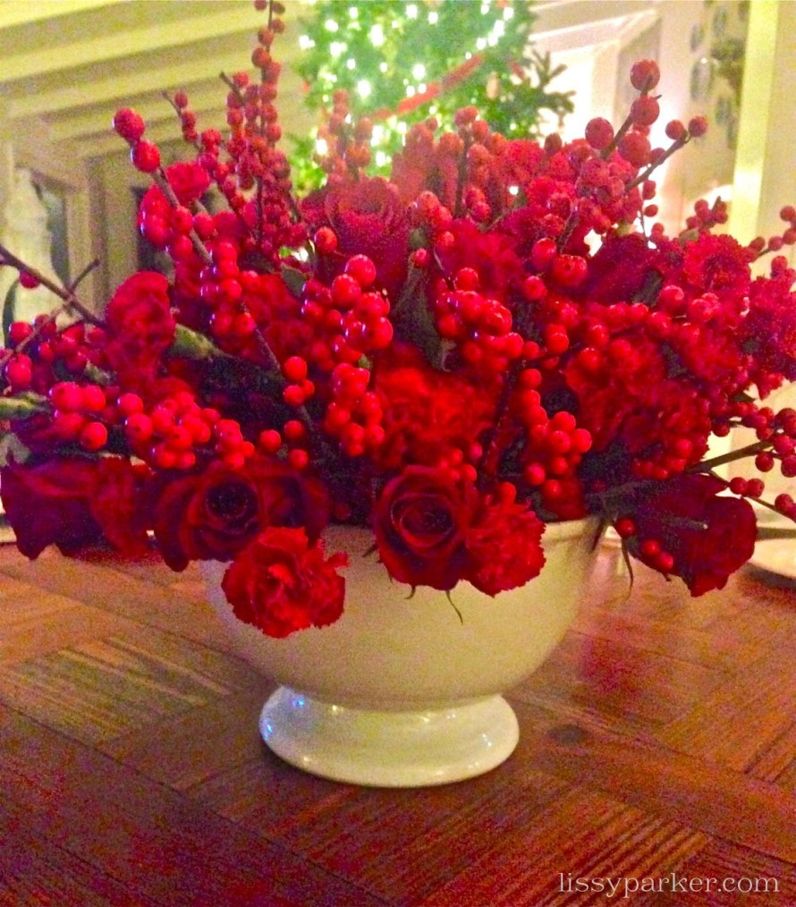 Christmas centerpiece—all from grocery store flowers