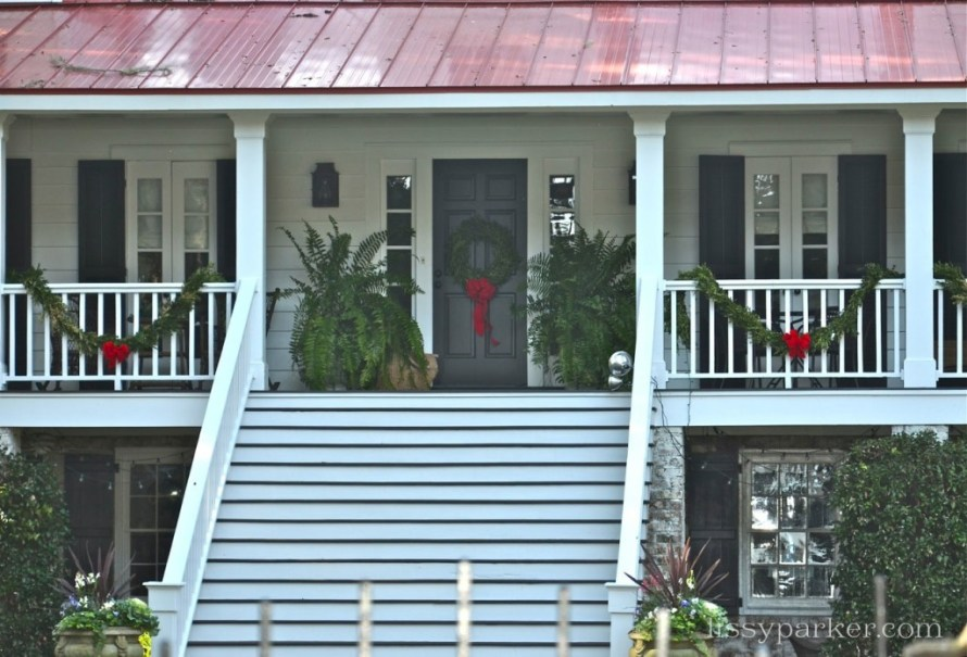 Red roof and beautiful low country porch