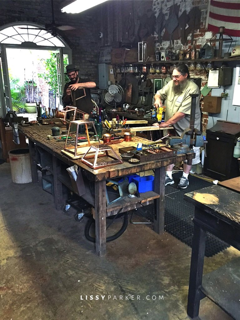 Copper lantersn being made by hand