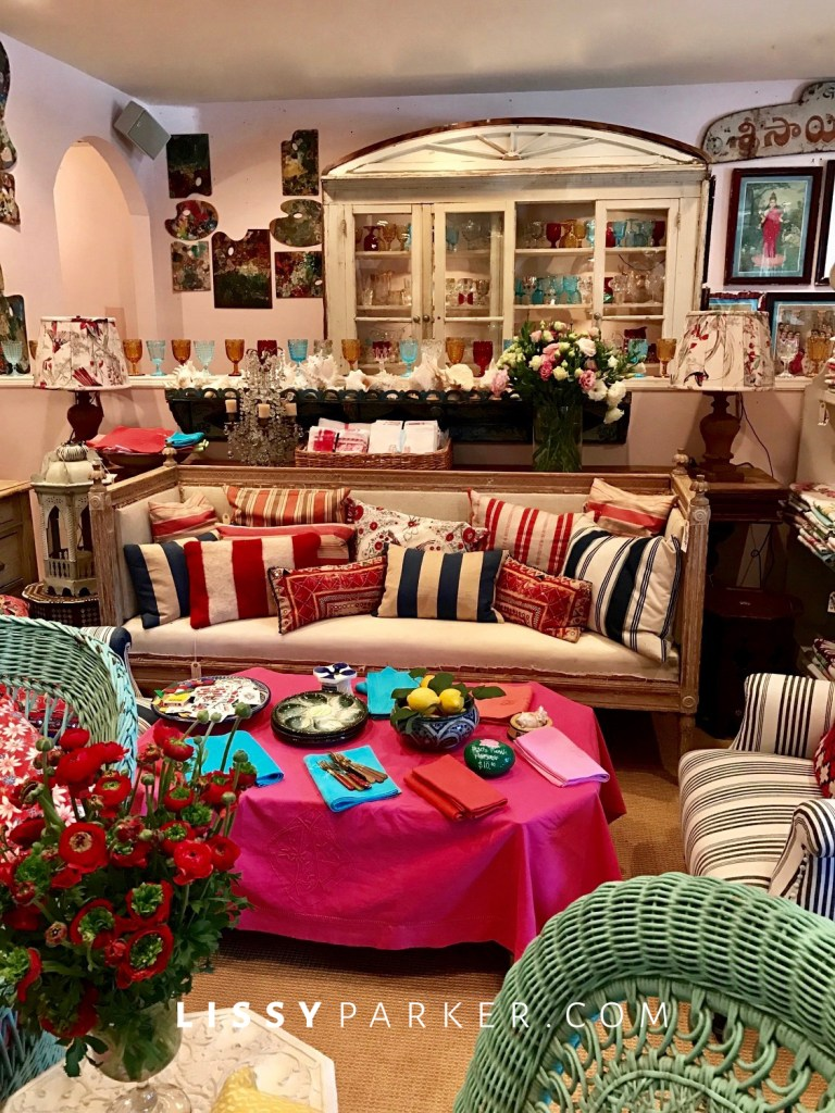 Hot pink ottoman and table