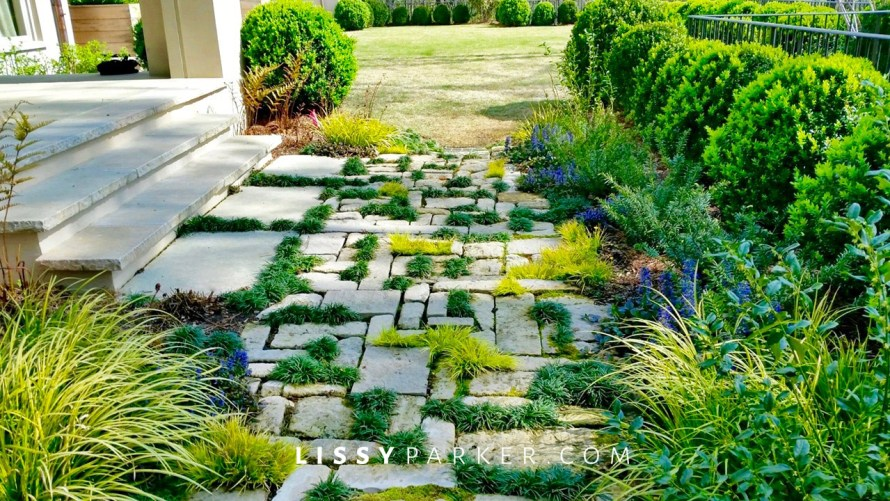 stone and grass steps