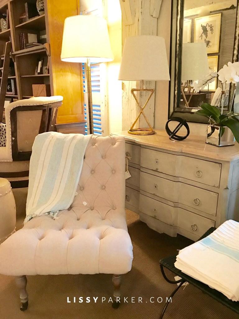 tufted cream chair