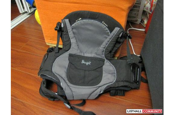 Infant Baby In Carrier Evenflo Snugli Front And Backpack Baby Carrier