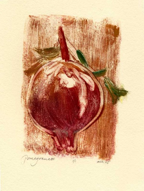 Ripe pomegranate, monoprint