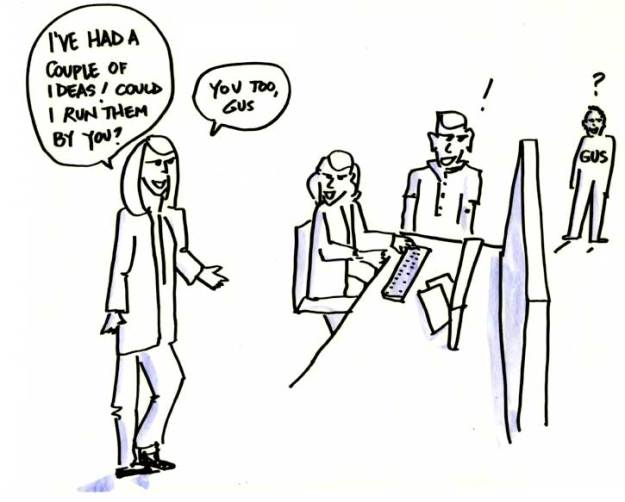 Drawing of supervisor asking employees for input into some ideas