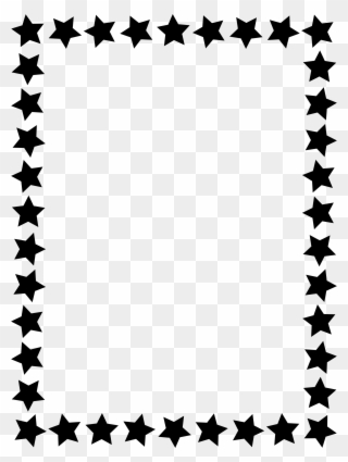 Black Star Border Clip Art - Simple Black And White Border - Png
