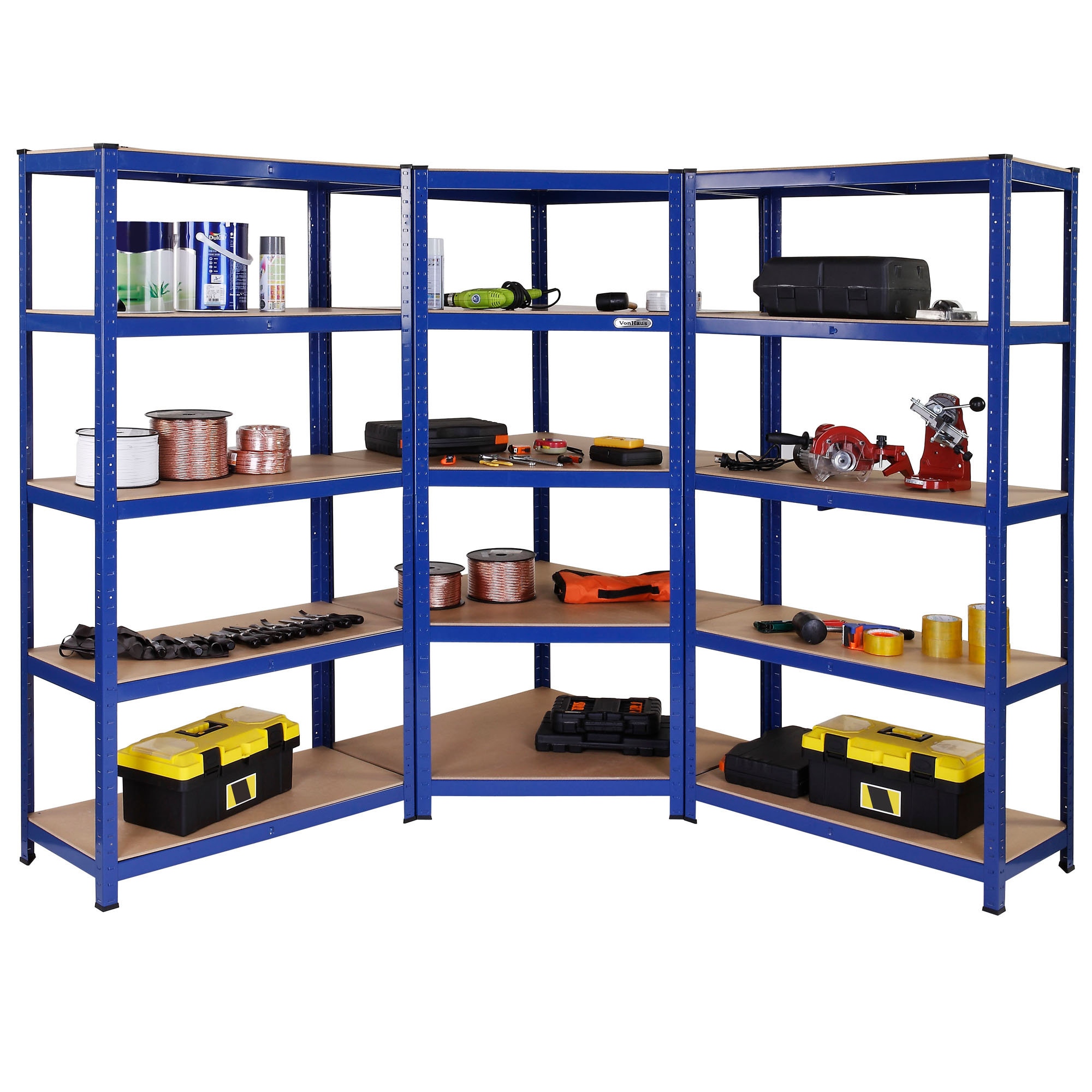 Regalsystem Werkstatt Vonhaus 5 Tier Heavy Duty Steel And Mdf Corner Racking