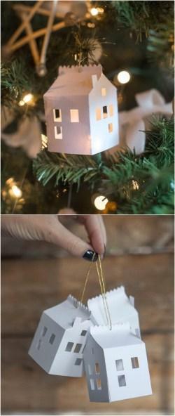 Endearing Diy Paper House Ornament Diy Ornaments Tutorials Paper Decorations Pdf Paper Decorations Ideas Lots