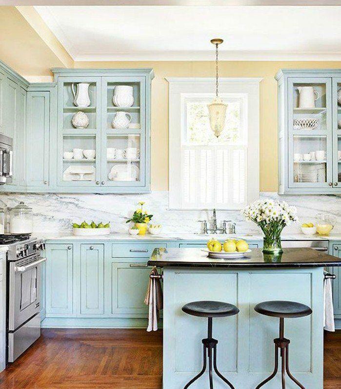Idée relooking cuisine - couleur peinture cuisine jaune, peinture