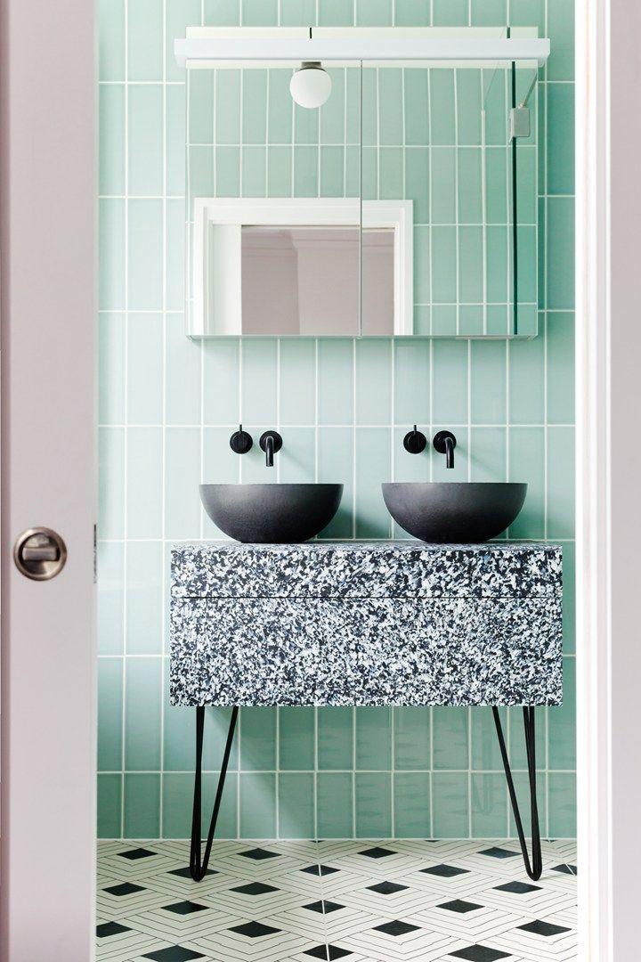 Idée décoration Salle de bain - Disposition carrelage + couleur