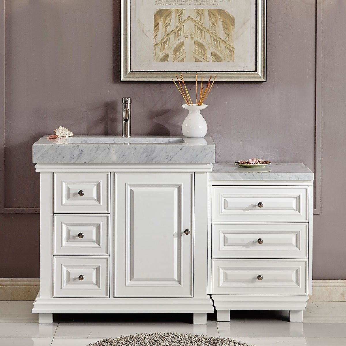 56 Bathroom Vanity 56 Inch Bathroom Vanity White Finish Integrated Carrara Marble Sink