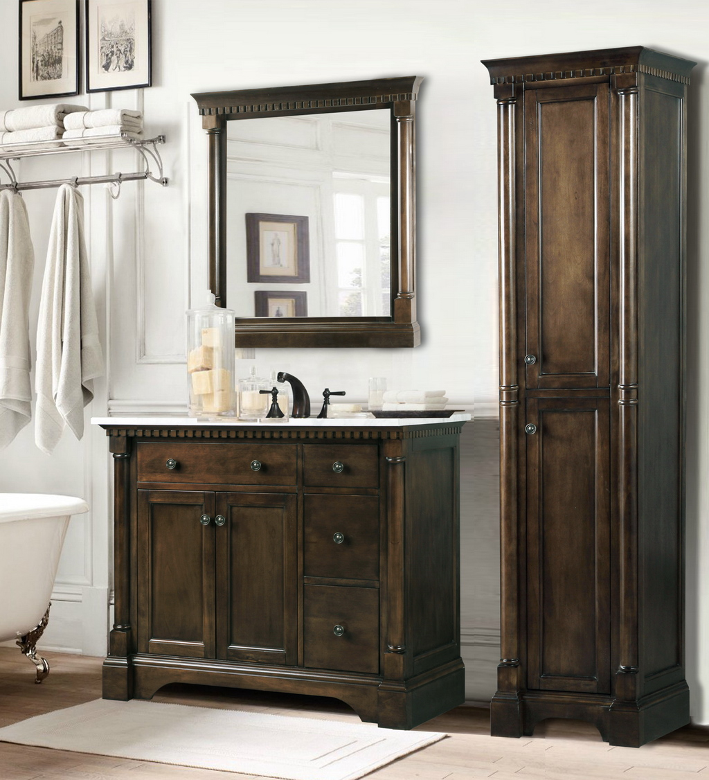 Legion 36 Inch Antique Single Sink Bathroom Vanity In Antique Coffee Carrara White Marble Top