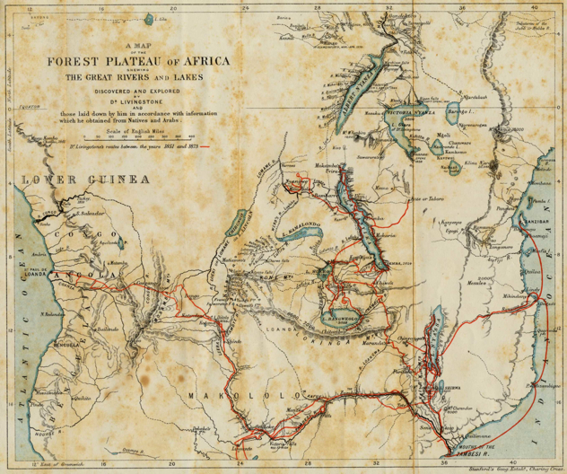 Map Livingstone Travels Africa