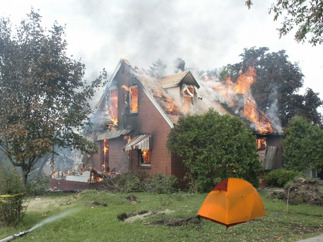 Tent and Burning House
