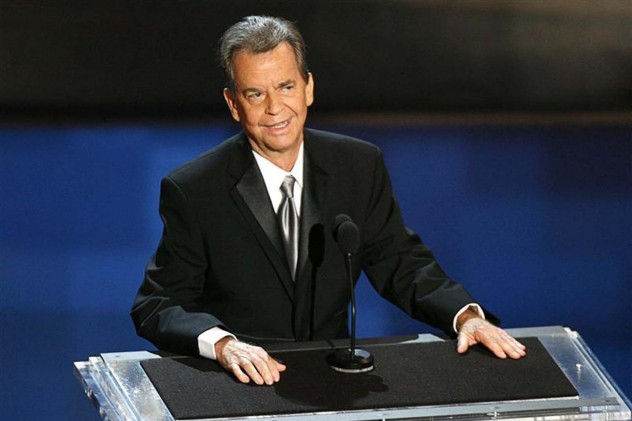 File photo of Clark standing onstage during a tribute to him at the 58th annual Primetime Emmy Awards in Los Angeles