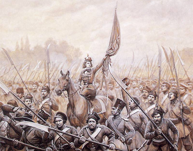 Emila_Plater_conducting_Polish_scythemen_in_1831
