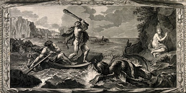 Hercules_rescuing_Hesione_from_a_sea-monster._Engraving._Wellcome_V0036065