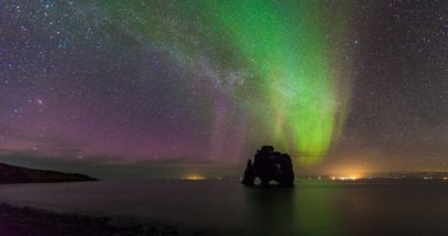Beautiful Northern light over hvitserkur sea stack, Iceland