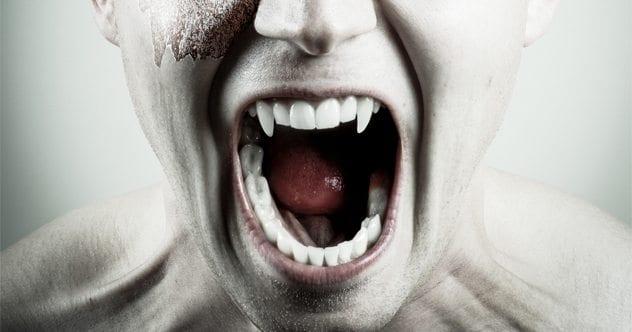 A portrait shot of a vampire face
